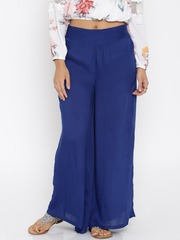 Desi Weaves Women Blue Solid Palazzo Trousers
