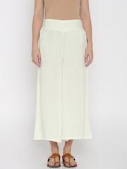 Desi Weaves Women Cream-Coloured Palazzo Trousers