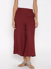 Desi Weaves Women Maroon Solid Palazzo Trousers