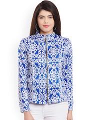 Meee Women Blue Printed Jacket