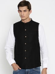 indus route by Pantaloons Black Nehru Jacket