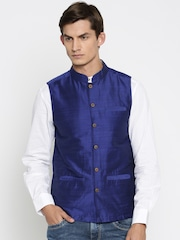indus route by Pantaloons Blue Nehru Jacket