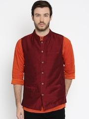 indus route by Pantaloons Maroon Nehru Jacket