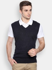 Peter England Men Black Melange Sweater