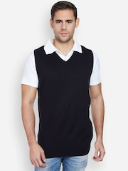 Peter England Men Black Sleeveless Sweater