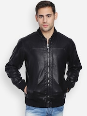 Peter England Casuals Black Rider Jacket