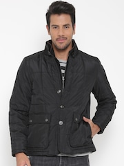 Peter England Casuals Black Quilted Jacket