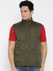 Peter England Casuals Olive Green Sleeveless Jacket