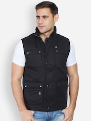 Peter England Casuals Black Sleeveless Jacket