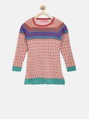American Eye Girls Rust Orange Patterned Longline Sweater