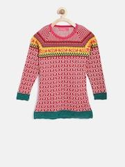 American Eye Girls Red & White Patterned Longline Sweater
