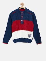 American Eye Boys Teal Blue Colourblocked Sweater