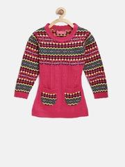 American Eye Girls Pink & Green Patterned Longline Sweater
