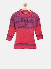American Eye Girls Orange & Purple Patterned Longline Sweater