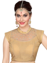 Ishin Gold-Toned Embellished Saree Blouse