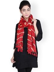Geroo Jaipur Red Leheriya Print Woollen Stole