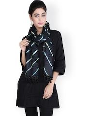 Geroo Jaipur Black Leheriya Print Woollen Stole