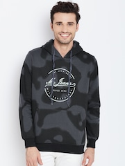 Monte Carlo Black & Grey Printed Hooded Sweatshirt