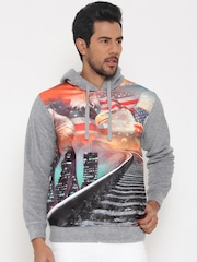Cloak & Decker by Monte Carlo Grey Melange & Orange Printed Hooded Sweatshirt