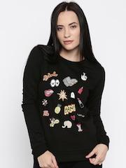 Vero Moda Women Black Printed Pullover Sweatshirt