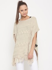 Vero Moda Women Beige Patterned Poncho Sweater