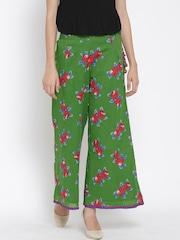 Biba Women Green & Red Printed Palazzo Trousers