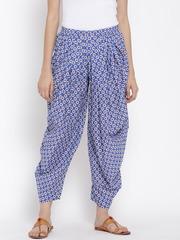 Biba Blue Floral Print Dhoti Pants