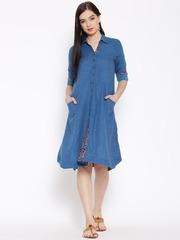 Biba Women Blue Solid Shirt Dress