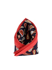 Tossido Navy Blue & Coral Red Printed Pocket Square