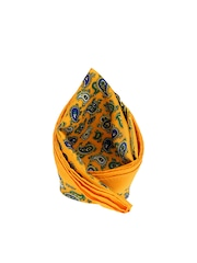 Tossido Yellow & Blue Printed Pocket Square