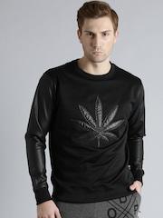 Kook N Keech Black Faux Leather Sweatshirt