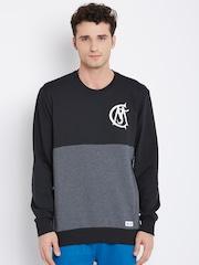 Adidas Black & Grey Melange Real Madrid F.C. Colourblocked Sweatshirt