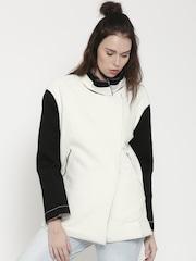 FOREVER 21 White & Black Colourblocked Jacket