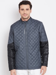 Reebok Grey & Black Colourblocked FTHR LITE Quilted Jacket