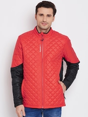 Reebok Red & Black Colourblocked FTHR LITE Quilted Jacket