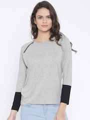 Wrangler Women Grey Melange Solid Round Neck T-shirt