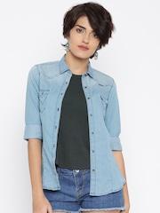 Wrangler Women Blue Casual Shirt