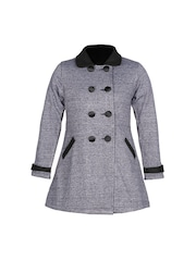 naughty ninos Girls Grey Melange Pea Coat