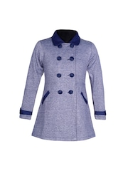 naughty ninos Girls Blue Melange Pea Coat