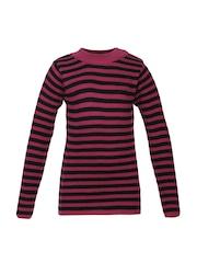 Cayman Girls Magenta & Black Striped Woollen Sweater