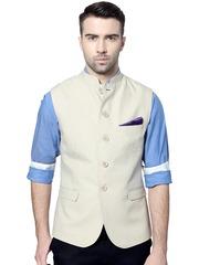 Van Heusen Sport Cream-Coloured Slim Fit Nehru Jacket