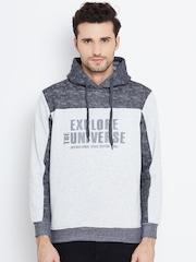 Monte Carlo Grey Melange Printed Hooded Sweatshirt