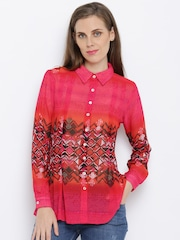 AND Women Pink Regular Fit Printed Casual Shirt