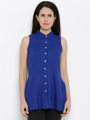 AND Women Blue Solid Regular Top