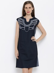AND Women Black Solid A-line Dress