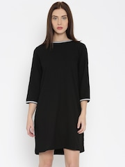 AND by Anita Dongre Women Black Solid Shift Dress