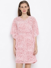 AND Women Beige Printed A-line Dress