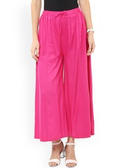 Pannkh Women Pink Solid Palazzo Trousers