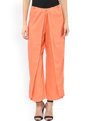 Pannkh Women Coral Orange Solid Flared Fit Palazzo Trousers