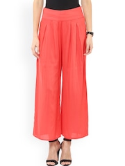 Pannkh Women Red Solid Flared Fit Palazzo Trousers